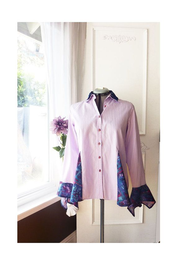 Upcycled Reworked Shirt- Long sleeve button down with silk inset - lilac stripe and printed silk - size 8 - FREE SHIPPING