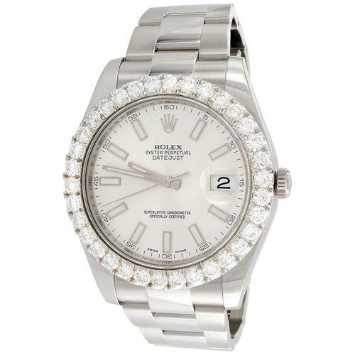 Mens 41mm Rolex DateJust II Diamond Watch Ref. # 116300 Silver Stick Dial 5.1 CT