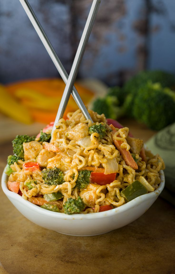 Classic Ramen Noodles & chicken covered in a savory peanut sauce & tossed with your favorite stir fried vegetables. An easy, healthy, family meal.