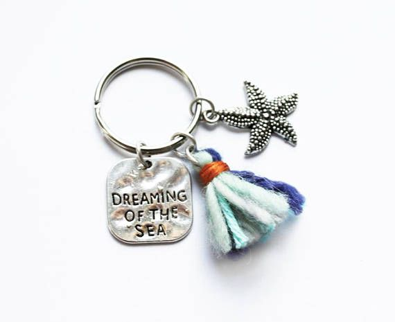 Dreaming Of The Sea Keychain  -Handmade Tassel - Starfish Charm - Boho Accessories - Ocean Keyring - Surf Lovers - Surfer Gift - Life's A Beach - Travel Token - Wanderlust Life