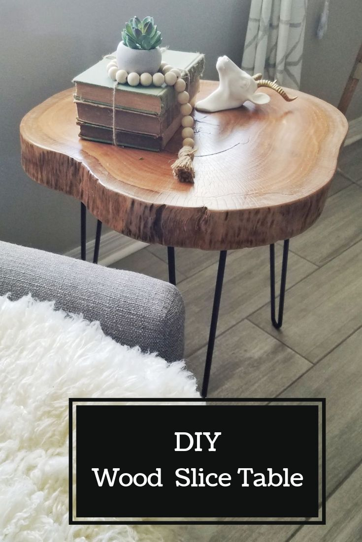 Diy Wood Slice Table In 2020 Wood Diy Wood Slice Decor Wood Side Table Diy [ 1102 x 735 Pixel ]