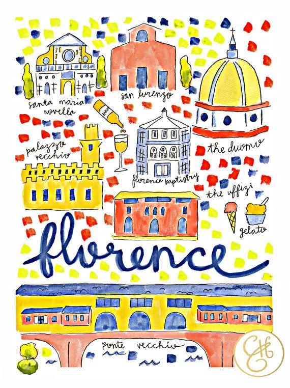Mapa de Florencia, Italia por EvelynHenson.