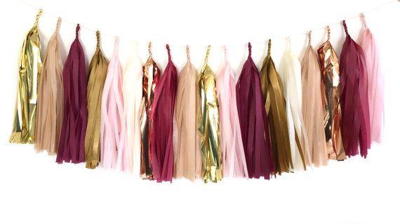 Burgundy Blush Tassel Garland - Copper, Burgundy Red, Gold, Blush Pink Tissue Paper Tassel Garland - Party Decoration // Wedding Decor