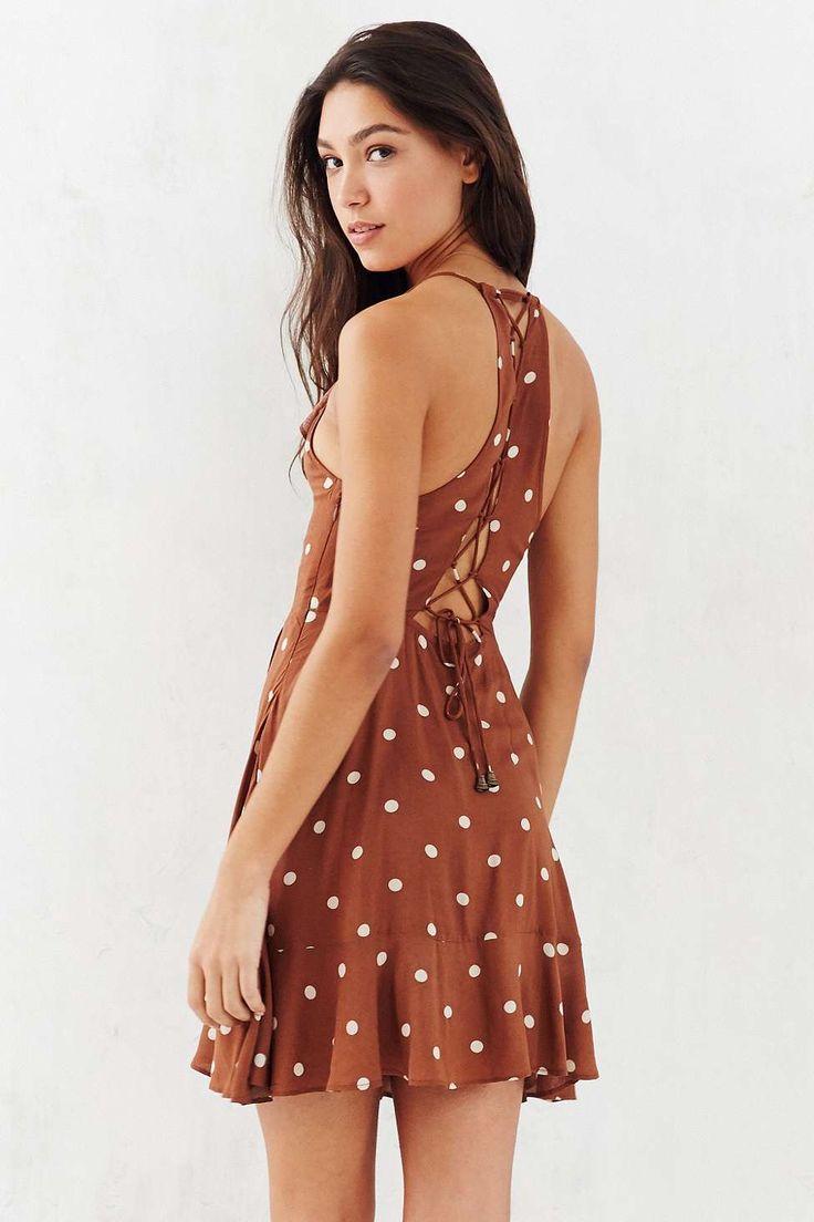 Kimchi Blue Sabina Brown Ruffle Wrap Mini Dress