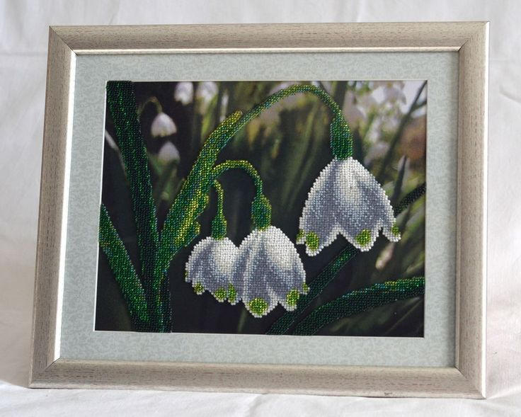 Handmade Bead Embroidery.Galanthus (snowdrop). Handwork picture. Partially embroidered with beads. Is in a frame under glass.