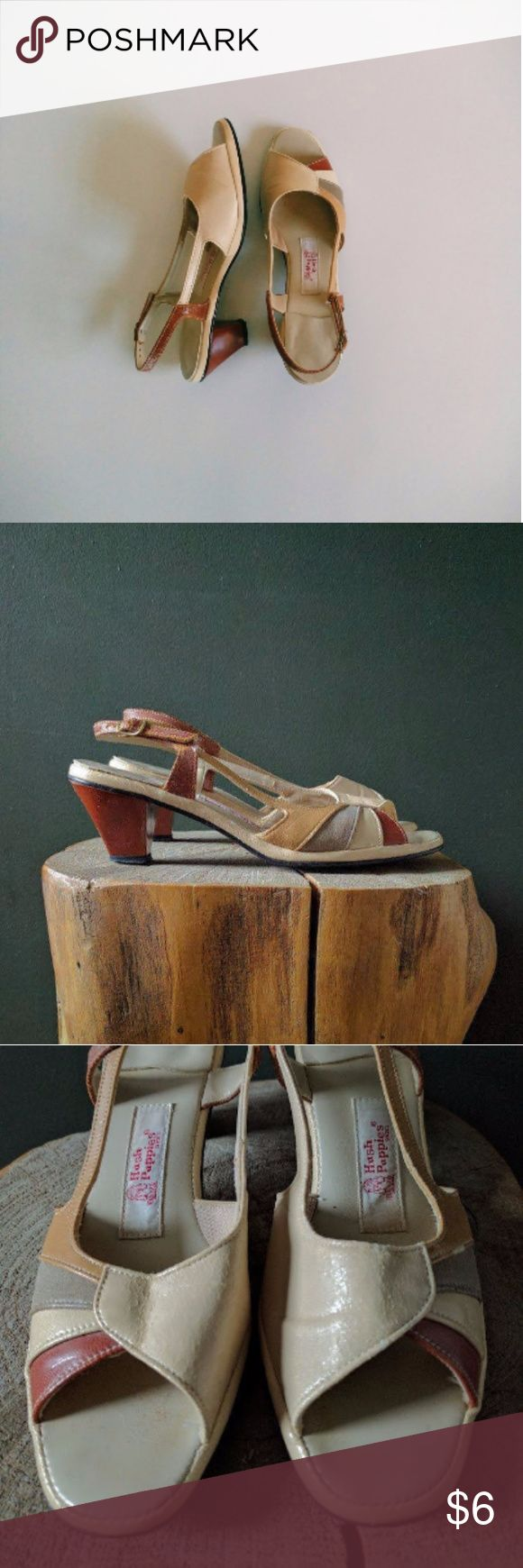 """Vintage 70's Cream Striped Slingback Sandals Brand: Hush Puppies Faux leather uppers Adjustable heel strap Open toe 2"""" heel  Condition Good vintage condition. Uppers have areas showing minor wear. Good shape overall and lots of life left to live. Hush Puppies Shoes Sandals"""