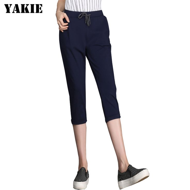 2016 Summer Pants Women Casual Pants Cotton Harem Pants Casual Elastic Waist  calf length Trousers Plus Size Sportswear #Affiliate