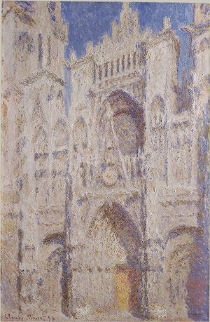 """Impressionism, """"Rouden Cathedral (The Portal Sunlight)"""", by Monet, 1894, oil on canvas,99.7 x 65.7 cm. Monet wanted to capture atmospheric effects of light against an architectural structure rather than a natural one. This piece is one of the series of Rouen Cathedral . The series recorded artist's subjective experience of light and atmosphere. (Hodge 72)."""