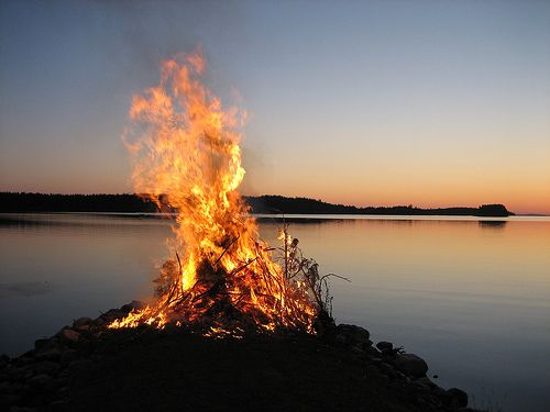 Midsummer and bonfire in Finland