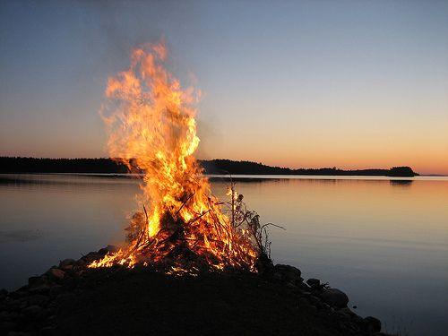 Finnish Midsummers Night - Juhannus! Traditional bonfire.