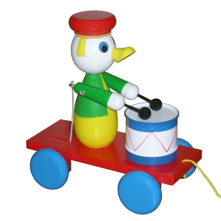 Wooden Pull Along Duck With Drum - Tucker