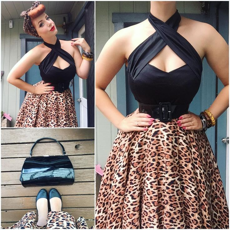 """""""Yesterday's outfit details! Top from @powderpuffboutique, skirt from @vivienofholloway, belt from @pinupgirlclothing ; bag from @glamour_bunny_clothing,…"""""""