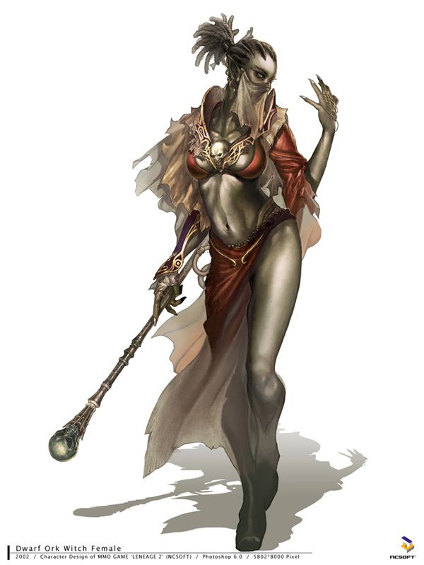 Female Askeri (The Askeri are desert-dwelling Orc creatures.) Idk who drew this. Hopefully the credit is somewhere in the pic)