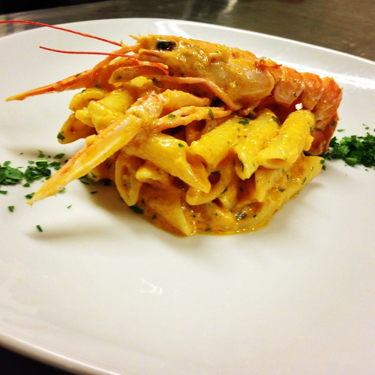 Penne pasta with crayfish