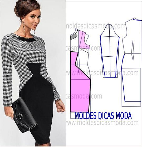 Analise com atenção a transformação do molde de vestido que hoje proponho. Este vestido conjuga duas cores que lhe conferem um look sofisticado.