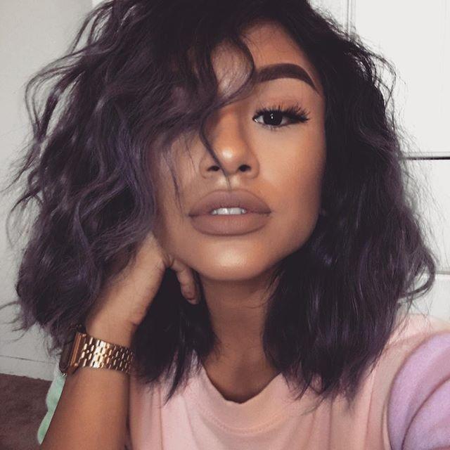 black rts #selfie #greyhair #motd #makeup #curlyhair #grey #shorthair watch: casio classic gold watch lips: stripdown - mac shirt: romwe.com