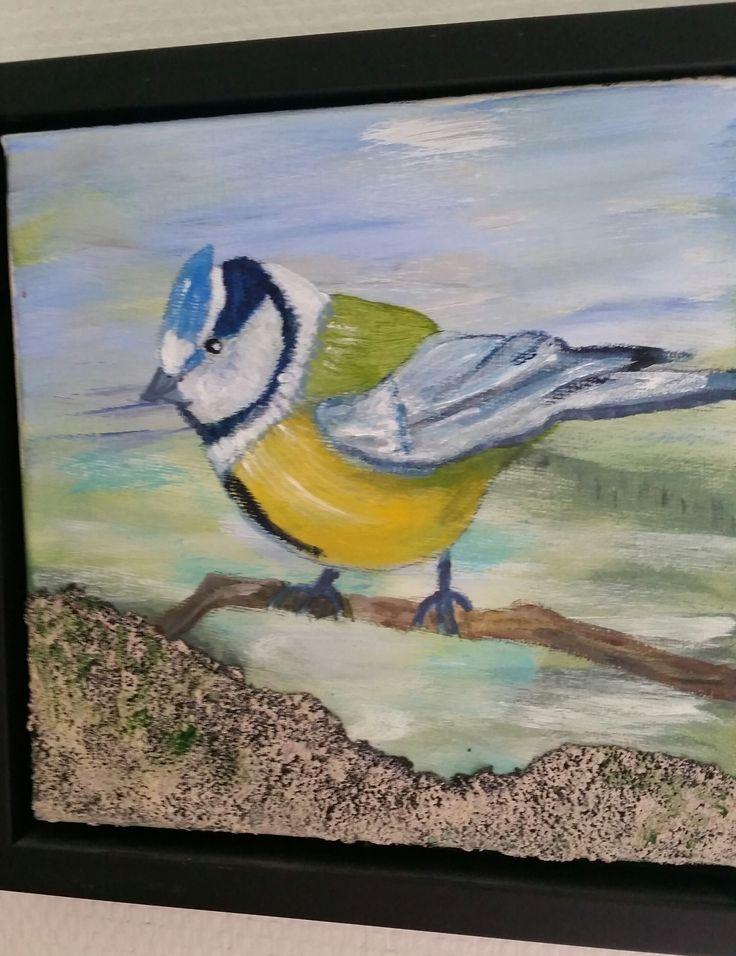 Mejse malet i akryl og sand 20 x 20