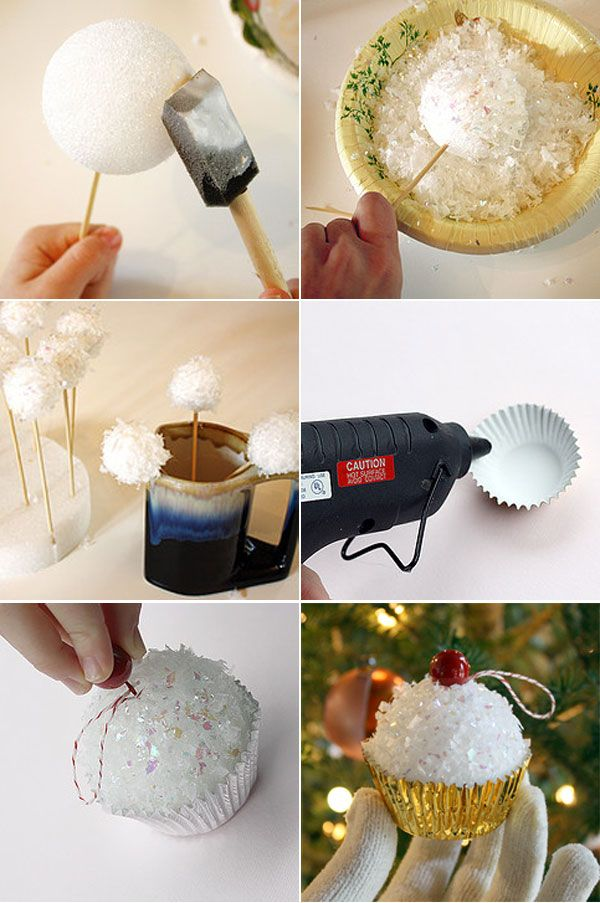 diy christmas tree ornaments crafts foam ball cupcakes