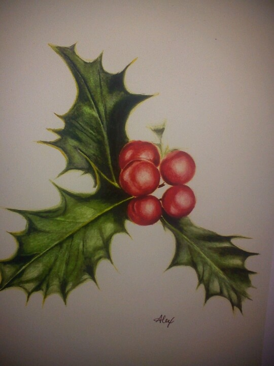 Holly watercolor Christmas card