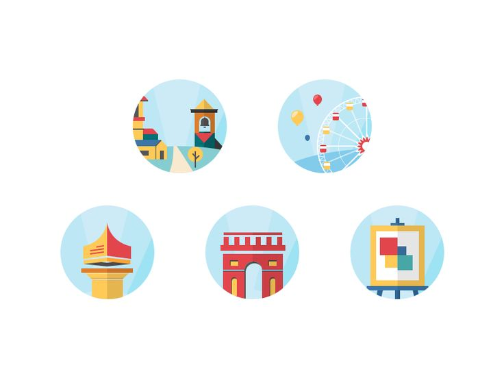 Icons pack interesting place by Roman Gordienko