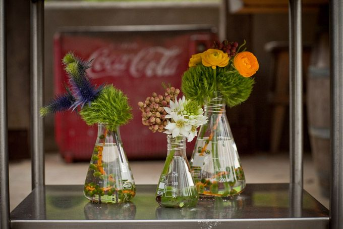 If science is your thing, or hers, try this arrangement out for size!    Or better yet, Science Trivia Night Center pieces! YEAH!