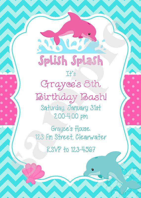 Dolphin Birthday Party Invitation Invite Pool Party by jcbabycakes