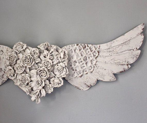 Large Angel Wings Wall Decor Roses Wood Metal By Mysecretlite Part 88