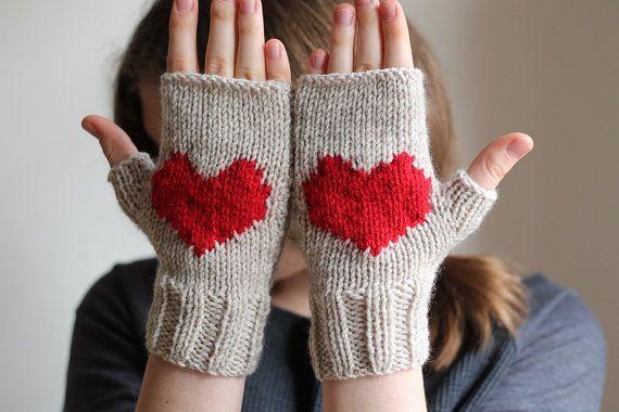 Valentines heart gloves, stone beige gloves, handmade gloves.  Ready to shipping. etsy.com