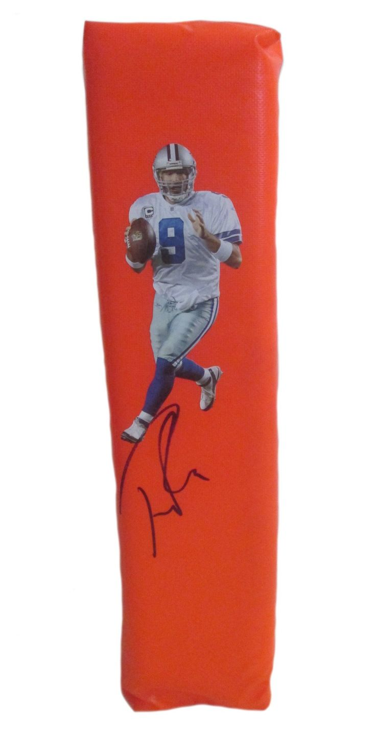 Tony Romo Autographed Dallas Cowboys Full Size Photo Football End Zone Touchdown Pylon. This is a brand-new custom Tony Romo signed Dallas Cowboysfull size photo football end zone pylon. This pylon measures 4inches (Width) X 4inches (Length) X 18inches (Height). Tony signed the pylonin black sharpie.Check out the photo of Tony signing for us. ** Proof photo is included for free with purchase. Please click on images to enlarge. Please browse our websitefor additional NFL & NCAA…