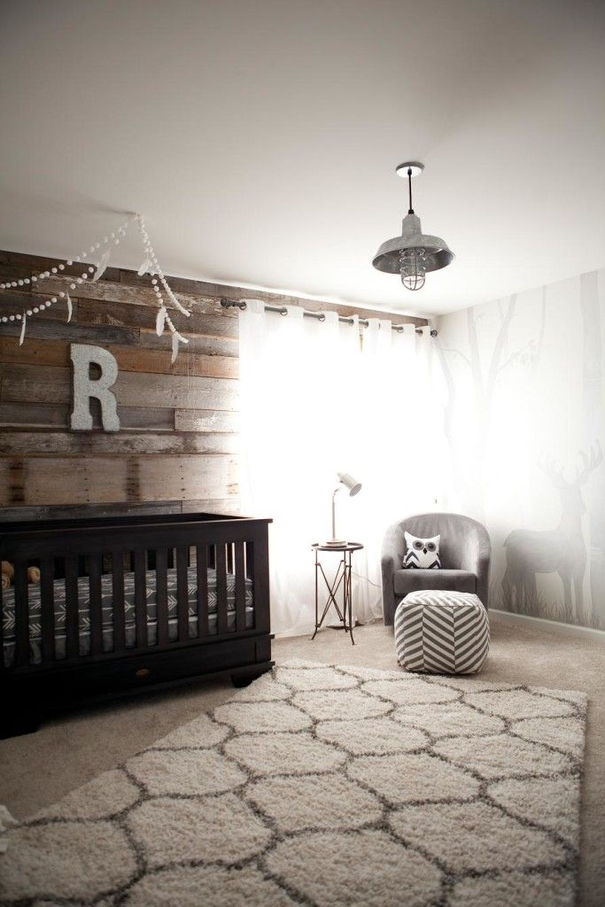 Modern Rustic Outdoor Inspired Nursery featuring a fab wood pallet wall - love the pairing of modern accents!