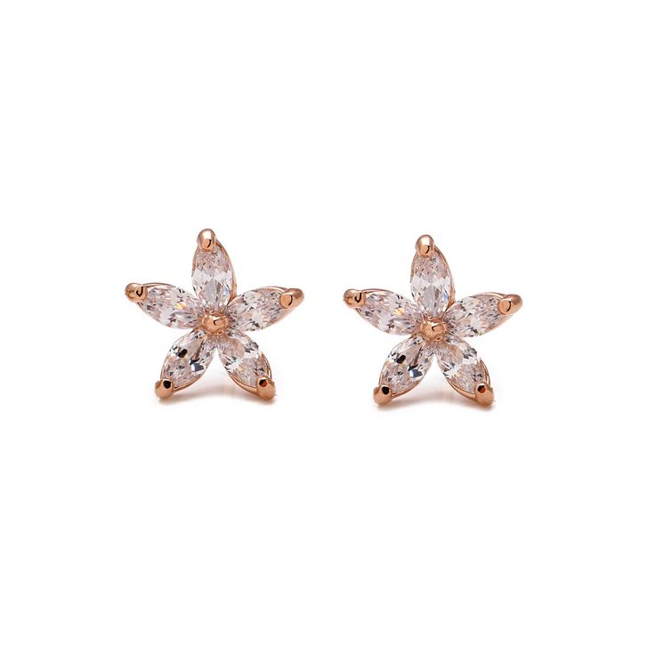 Genuine Austrian crystal flowers 18k rose gold plated pierced earrings