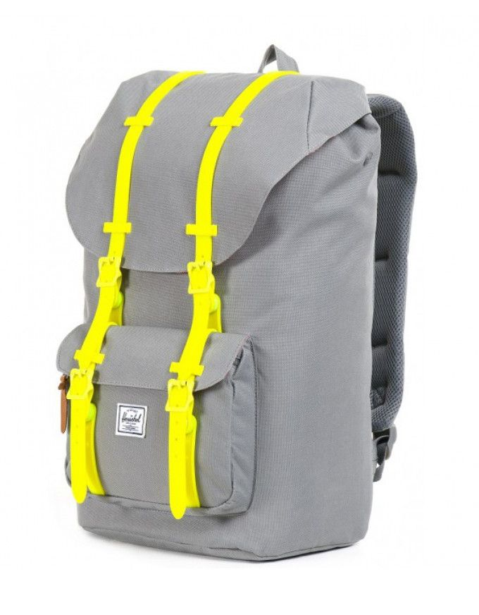 Herschel Little America Weather Pack Classic Backpack (Grey/yellow). The Little America backpack is one of Herschel's bestselling styles. Inspired by classical mountaineering packs. With a padded laptop sleeve, internal media pocket. It's the bag for the eager urban explorer.  http://www.zocko.com/z/JINnE