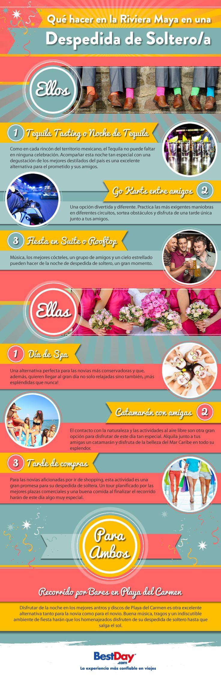 ¿Aún no sabes dónde pasar tus últimos días de soltería con tu grupo de amigos? Playa del Carmen es una excelente opción para una despedida de soltero/a. ¡Checa nuestra infografía!