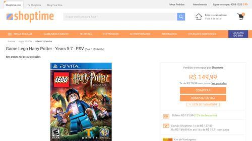 [Shoptime] Game Lego Harry Potter - Years 5 - 7 - PSV - de R$ 168,16 por R$ 131,99 (21% de desconto)
