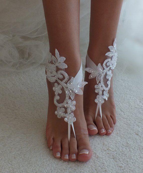 8e8903b07949 Ivory or white Beach wedding barefoot sandals wedding shoes beach ...