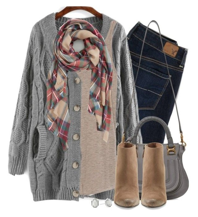 """""""Gray cable knit, wedge boots & plaid scarf"""" by steffiestaffie ❤ liked on Polyvore featuring American Eagle Outfitters, Zara, Sole Society, Chloé, Dolce Vita and Kendra Scott"""