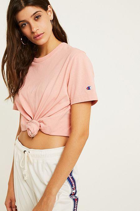 9c9299fd34a67 Champion Small C Logo Pink T-Shirt
