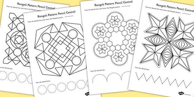 Rangoli Pattern Pencil Control Worksheets
