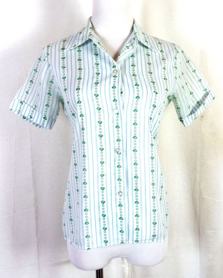 vtg 60s 70s Girl Scouts Striped Repeating Logo Print Pattern Uniform Shirt sz 36