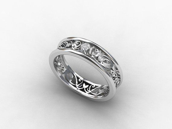 Diamond ring,  White gold wedding band, filigree ring, lace,  Diamond wedding band, vintage style, unique, wedding ring.