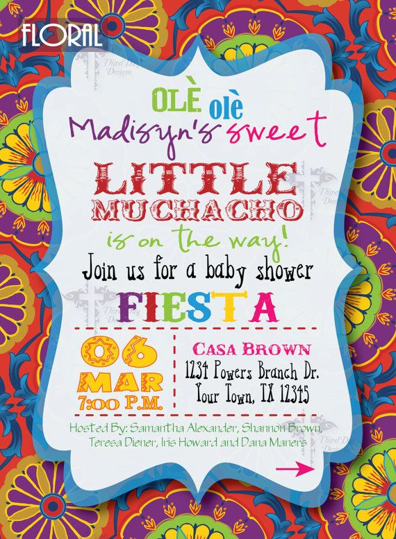 Fiesta Baby Shower Invitations by ThirdDayDesigns on Etsy
