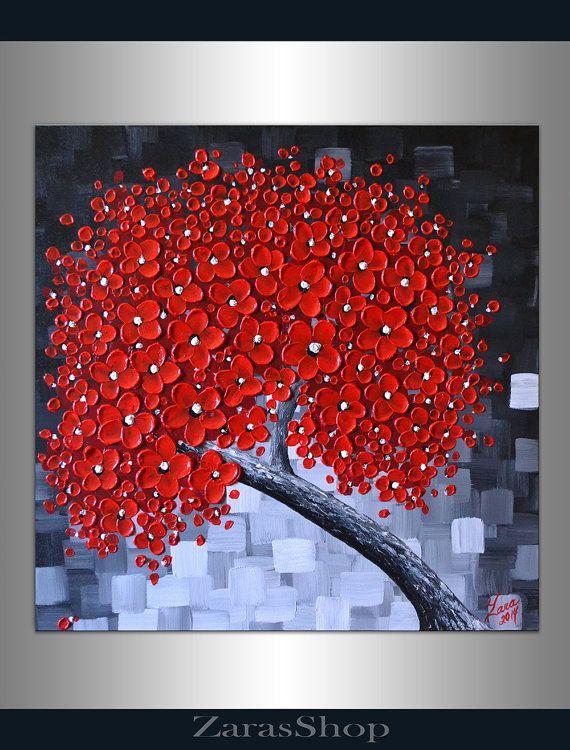 Original modern textured art abstract red cherry blossom tree painting 20x20 float canvas wall décor palette knife artwork chic unique gift