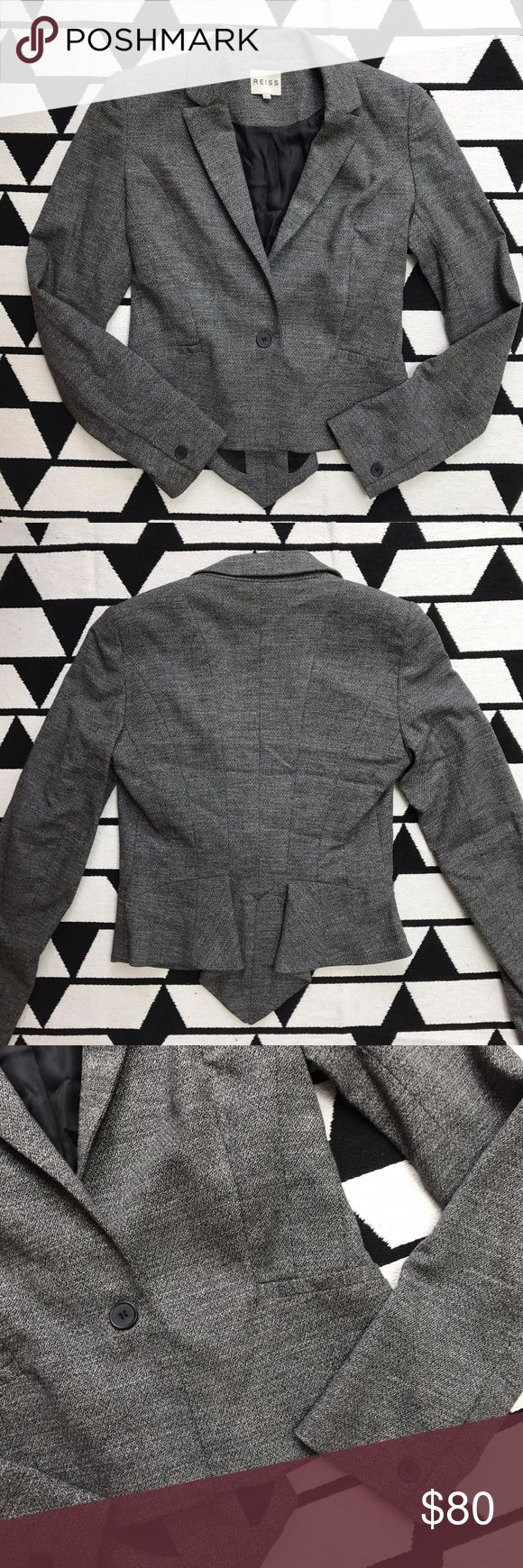 """Reiss Gray Coattail Blazer Excellent gently worn condition with no flaws to note. Bust (armpit to armpit) 17"""". Shoulder to shoulder 15"""". Body Length 21.5"""". Sleeve length 24"""". Slim Fit. Measurements are taken laid flat and approximate. Material is polyester/viscose/cotton/elastane. Fully lined. Faux front pockets. Mini coat tail in the back. Very subtle shoulder pads. NO trades/modeling. Offers welcomed. Reiss Jackets & Coats Blazers"""