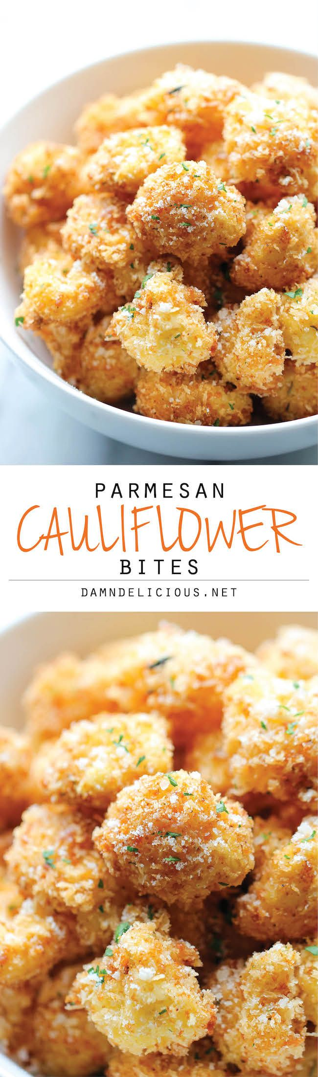Parmesan Cauliflower Bites - Crisp, crunchy cauliflower bites that even the pickiest of eaters will love. Perfect as an appetizer or snack!