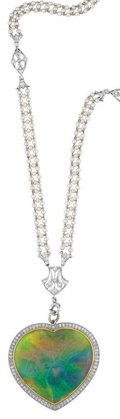 Edwardian platinum, pearl and diamond sautoir with black opal and diamond heart pendant - Love this!  #opals #opalsau #opalsaustralia