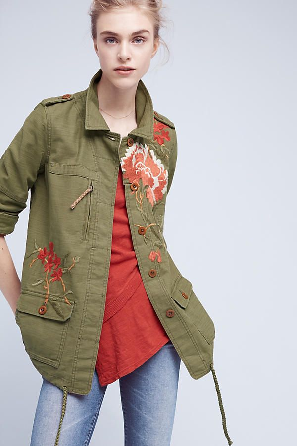 Slide View: 2: Embroidered Field Jacket