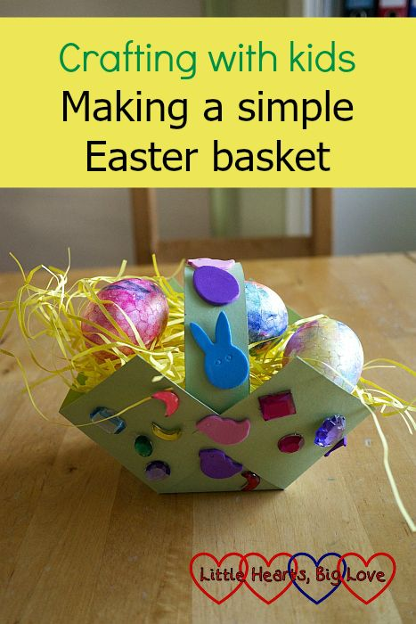 Step-by-step instructions showing how to make a simple cardboard Easter basket #eastercraft #easterbasket #kidscrafts #crafts