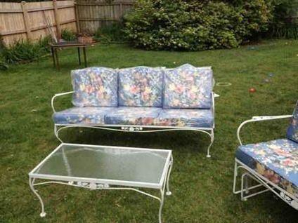 $800 Vintage Iron Meadowcraft Patio/Porch Furniture 6 PC White Rose  Unused