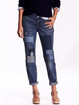 Women's Boyfriend Skinny Ankle Patchwork Jeans | Old Navy