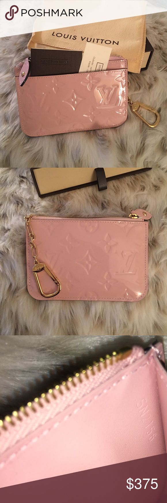 Louis Vuitton rose ballerine key pouch cles vernis LOWEST IS $375 with free ship on Ⓜ️ercari. If you want it on here I'll have to add 20%. Selling my Louis Vuitton Vernis key pouch cles in the rose ballerine color This is brand new. Comes with Pouch Dust bag Box Receipt Care card Booklet Ships same day Louis Vuitton Bags Wallets